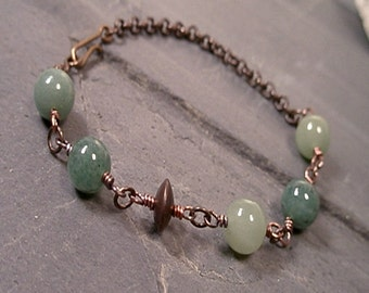 Diana Bracelet - Aventurine and Natural Brass