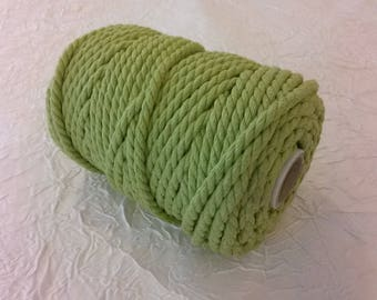 Cotton cord. Twisted cotton cord. Cotton rope. Macrame rope - spool of 100% cotton rope - 5 mm - pistachio green.