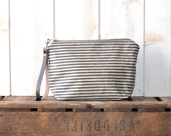 Waxed canvas pouch - waxed canvas bag, gray striped travel pouch, zipper pouch, christmas gift pouch