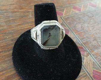 Vintage Sterling Agate Ring