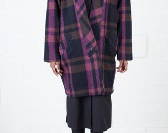 Vintage Plaid Cocoon Coat / Avant Garde / XS S
