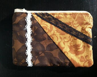 Wallet in Brown with lace fabric