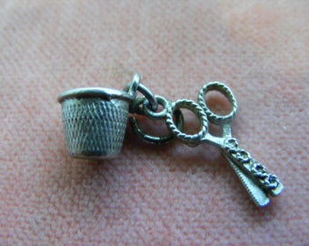 B) Vintage Sterling Silver Charm Scissors and Thimble