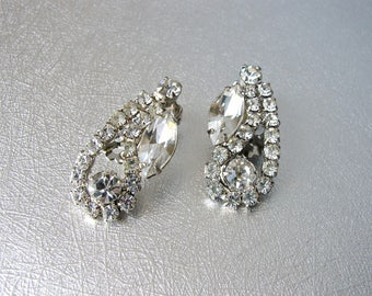 Rhinestone Clip Earrings Marquis Climbers Vintage Bride Wedding Bridal Ballroom Pageant Costume Jewelry Formal Evening Prom Something Old
