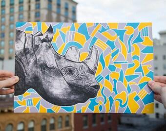 """Rhino Signed Archival Print 14"""" x 9.4"""" - Print of a Rhino - Animal Print - Rhino Art"""