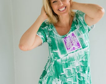 Plus Size Hand Painted Woman Fashion Workout Top Maternity Tunic Kauai Hawaii Resort Wear