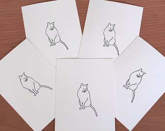 Set of 5 Handmade Gregory Notecards