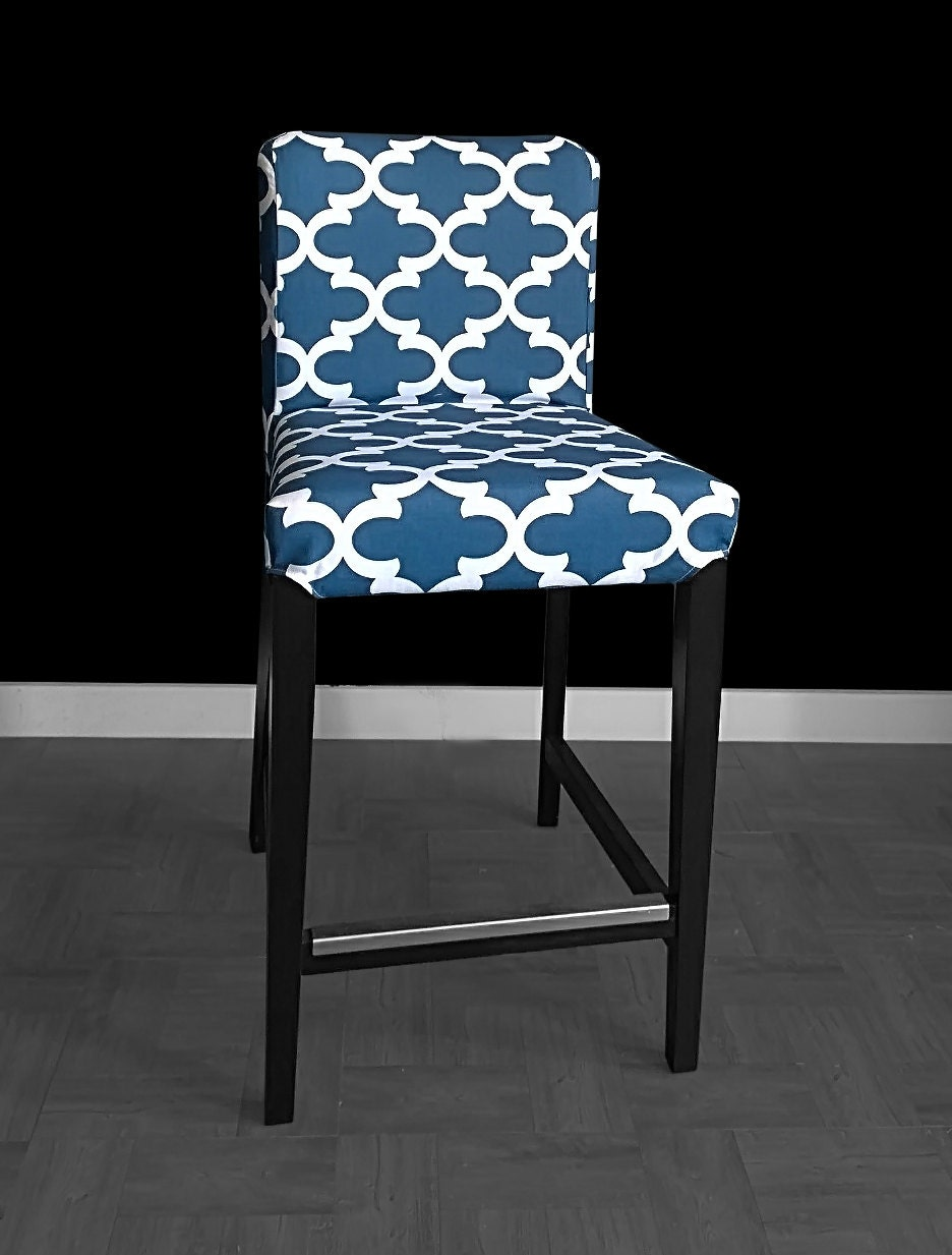 Navy Indian Style Ikea Henriksdal Bar Stool Chair Cover