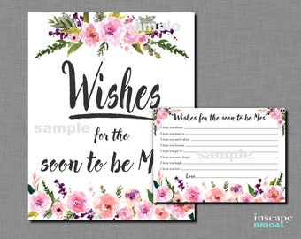 Wishes for the Soon to Be Mrs Printable, Printable Wishes for the Bride Game, Bridal Shower Game, Floral Bridal Shower Activity, Wishes Game