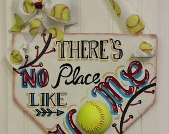 There's No Place Like Home Baseball/Softball - Home Plate - Home Base - Baseball Wreath - Softball Wreath -MLB-Coach's Gifts-Baseball Decor
