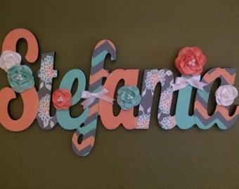 Custom Hand Painted Kids Name Sign - Nursery Wall Letters Name Sign - Wood Wall Letters Cursive Style