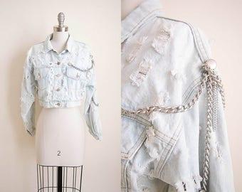 1980s vintage crop jean destroyed denim burnout button down pocket jacket chain coat s m