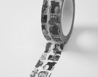 Washi Tape - 15mm - Black Camera Photography on White - Deco Paper Tape No. 565