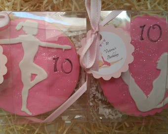 Gymnastics cookies,gymnasitics sugar cookies ,gift favores gymnastics,