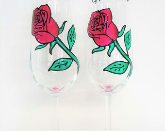 Hand Painted Red Rose Wedding Champagne Glasses // Personalized Wedding Glasses // Wedding Toasting Glasses // Wedding Champagne Flutes