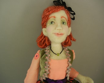 Art Doll, Penny: Needle Felted Wall Doll