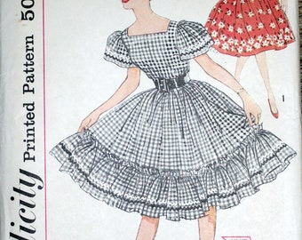 """1950s Simplicity #3295 sewing pattern for Size 14 Teen (Bust 34) - Vintage - """"Simple to make"""" skirt and blouse"""