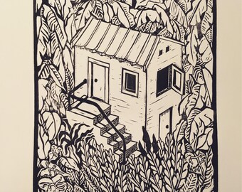 Linocut - Housein the Woods