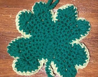 Crochet four lef clover potholder