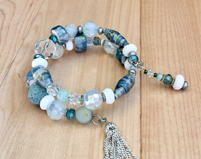 Ocean Reflections - wrap around memory wire bracelet made with paper beads, crystals, amazonite and an essential oil bead