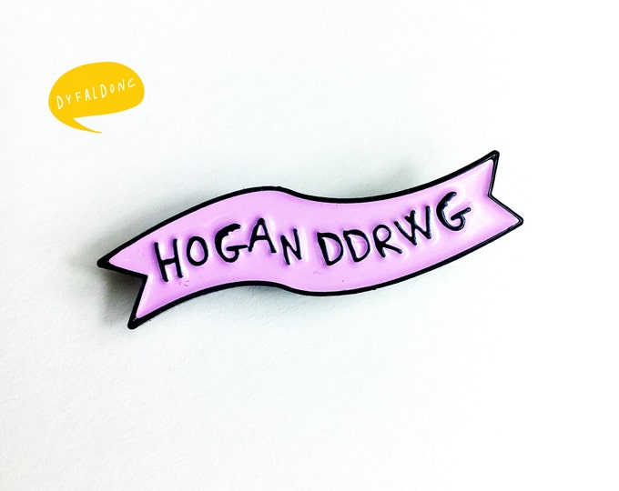 Featured listing image: Lapel Pin Hogan Ddrwg Welsh Bad Girl Bubblegum Pink Black Brooch Pin