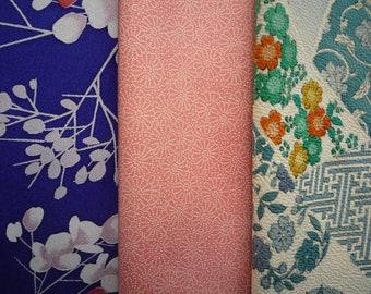 Silk Kimono Fabric, Japanese Vintage Textile, Asian Craft Supply, Blue and Pink Set of 3