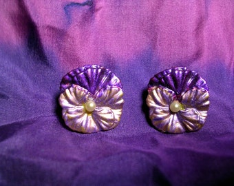 Purple and Lavender  Pansy Pearl  Earrings. Hand Painted Metal.