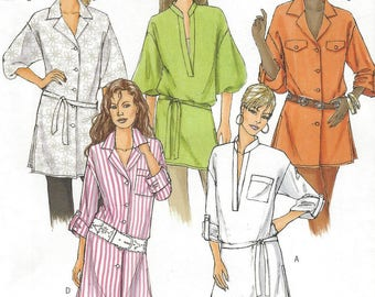 Womens Tunic and Belt Button Front or Deep V Neckline Sleeve Variations OOP Butterick Sewing Pattern B5037 Size 6 8 10 12 14 Bust 30.5 to 36