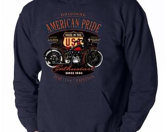 American Biker Rider Sweatshirt Route 66 Shirt Highway Motorcycle HOODY