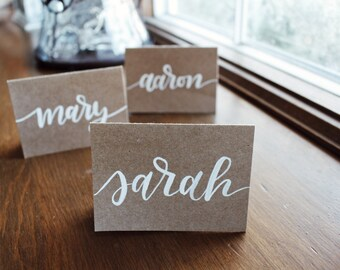 Hand-lettered calligraphy place cards
