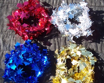 star garland,ass't colors,18 ft,wired,shiny tinsel,red,silver,blue,gold,Christmas,Patriotic crafts,holiday,wreath embellishment,florals