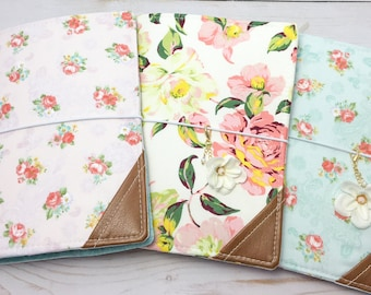 B6 Retro Chic Floral Fauxdori, Travelers Notebook, TN, Charm included