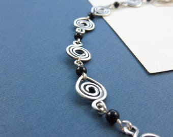 "Sterling Silver Spiral Bracelet with Onyx Beads - ""Sorceress' Adornment"""