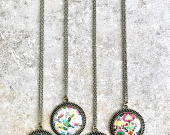 Colorful Necklace - Long Colorful Necklace - Bezel Necklace - Glass Dome Necklace - Colorful Necklace Boho - Multicolor Necklace