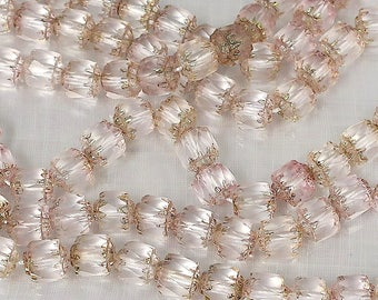 6 mm light rose cathedral glass beads-25 per strand-Lot15