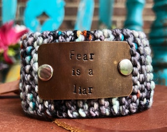 Fear is a Liar Custom Made Bracelet, Faith Jewelry, Neutral Bracelet, Hand Stamped Cuff