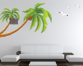 Vinyl Wall Sticker Decal with Green Palm Tree and birds For Living room and bedroom Home Decor DIY & Palm tree wall decal | Etsy