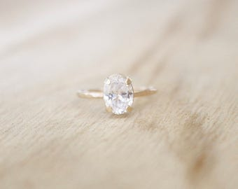 Thin hammered gold oval solitaire ring, gold oval cz ring, dainty gold ring, gold solitaire ring, engagement ring, gold ring, oval ring