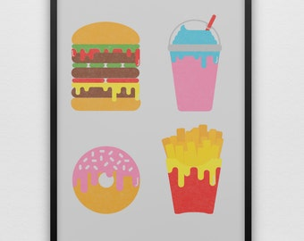 Empty Calories Art Print Burger Fries Shake Donut Minimalist Junk Food Drive-Thru McDonalds Burger King Wendys In Out Cheeseburger Chips