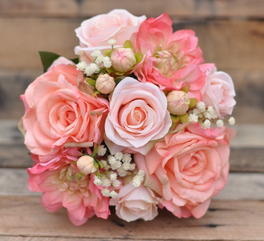 Roses Wedding Flowers: Peach Rose Wedding Bouquet Silk Flower Bouquet Made With