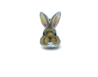 Rabbit Brooch, Bunny Face Pin Badge, Wildlife, Wild Animal, Nature Lovers Gift