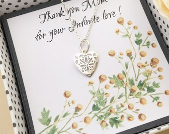 Mom gift LOVE HEART NECKLACE filigree heart pendant sterling silver heart necklace custom message card gift for women bridesmaid wedding