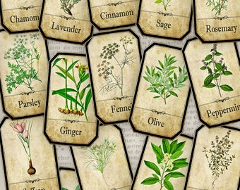 Herbs Apothecary Labels printable Labels Jar Labels Tags instant download printable images digital collage sheet - VD0612