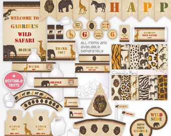 Vintage jungle safari party pack, zoo editable party package - wild safari printable party decoration set - INSTANT DOWNLOAD