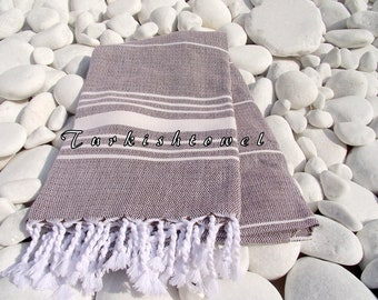 Turkishtowel-Soft-High Quality,Hand Woven,Cotton Bath,Beach,Pool,Spa,Yoga,Travel Towel or Sarong-Ivory Stripes on Soft Brown