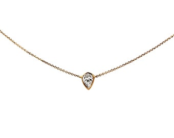 Tiny Delicate Pear Cut Diamond Necklace