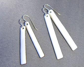 White enamel bar earrings Handmade minimalist jewelry Simple stick dangles Modern jewelry Gift for her