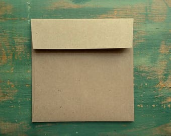 "100 Square Envelopes, 5"", 5.25"", 5.5"" or 5.75"" (127, 133, 140, or 146mm) kraft brown, recycled envelopes, sticker flap adhesive eco friendly"
