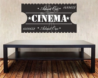 Cinema Room Wall Decal, Movie Ticket Wall Decal, Movie Room Wall Art Decal, Movie Room Wall Design, Cineman Art, Ticket Stub Wall Decal, c87