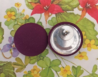 Fabric Covered Button Earring / Wholesale Jewelry / Purple / Stud Earring / Bridesmaid Gifts / Made in USA / Plain Earrings